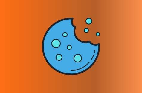 Orange background, blue icon representing a cookie policy