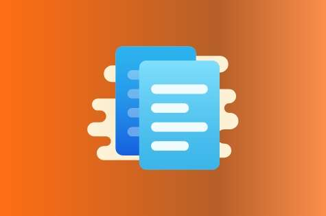 Orange background, blue icon representing terms and conditions
