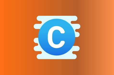 Orange background, blue icon representing copyright
