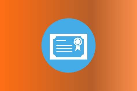 Orange background, blue icon representing a certifiate