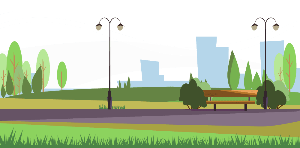 Cartoon visual of a park