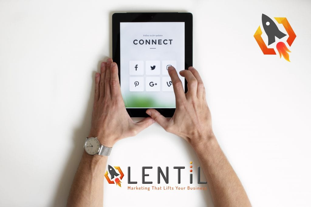 Lentil Marketing, connecting social media platforms. Image shows a tablet device with a selection of social media icons.