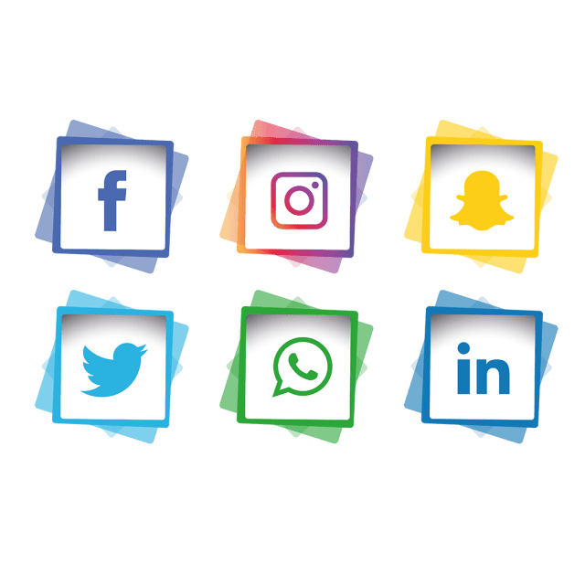A collection of social media icons, colourful logos for Facebook, Instagram, Snap Chat, Twitter, WhatsApp & LinkedIn.