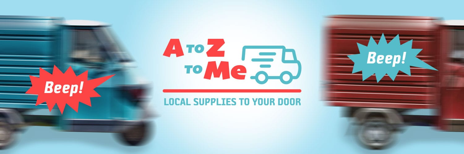 A to Z to Me logo, local supplies to your door. An organisation who help to promote local businesses on the Isle of Wight. (Image shows two delivery vans 'beeping' with the A to Z to Me logo.