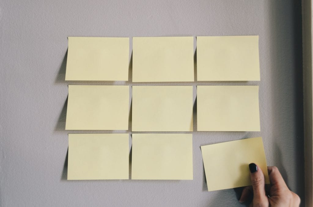 A series of post-it notes on the wall.