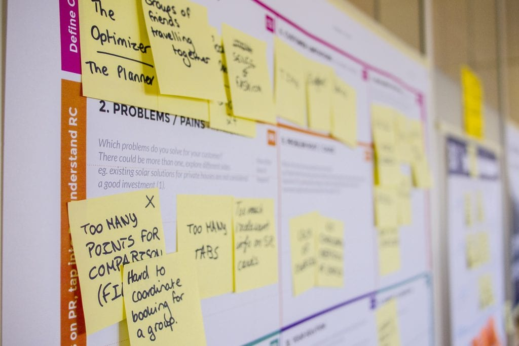 Image of board with planning post-it notes pinned. Social media marketing success requires pre-planning. What do you want to achieve? Who is/ are your audience? What is your time-scale?