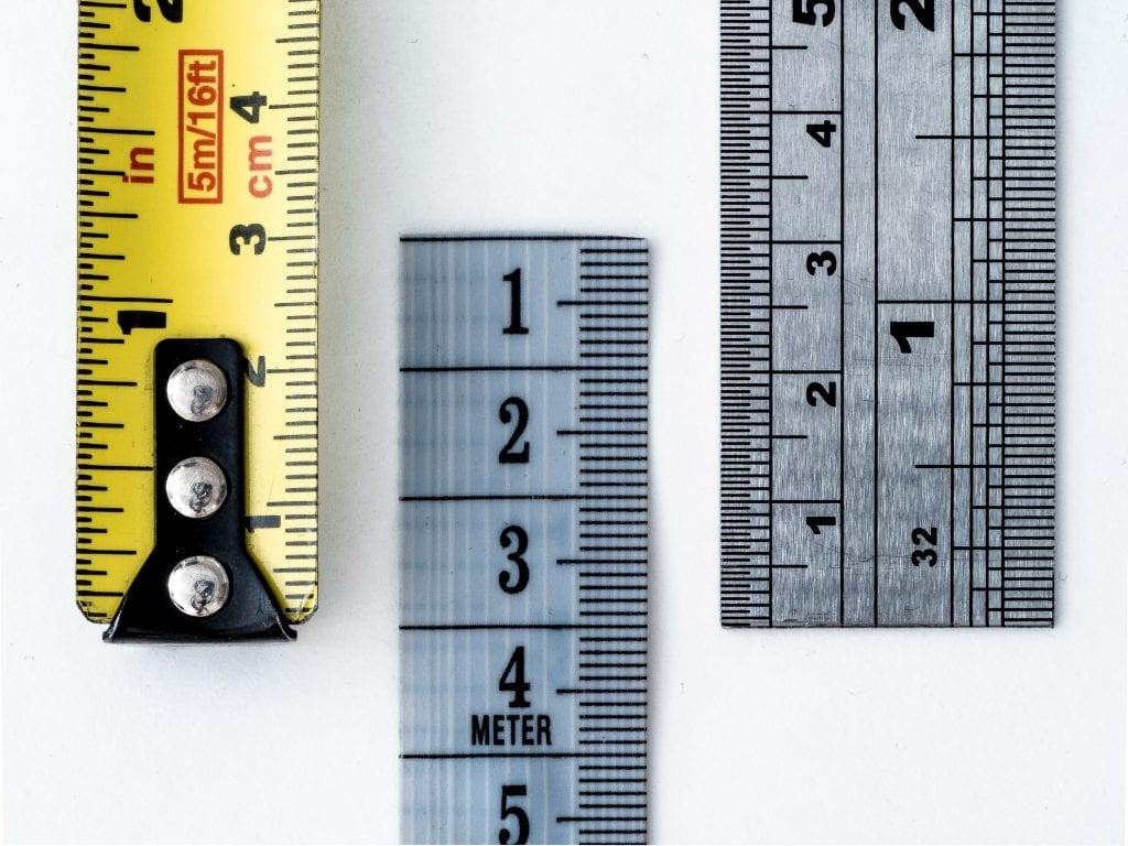 Image of rulers and measuring tapes. What is measured in managed. Effective social media marketing demands that trends, engagement, likes, etc are monitored so they can better managed.