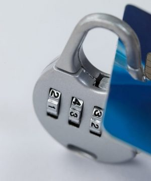 Close-up of smart card protected with number lock
