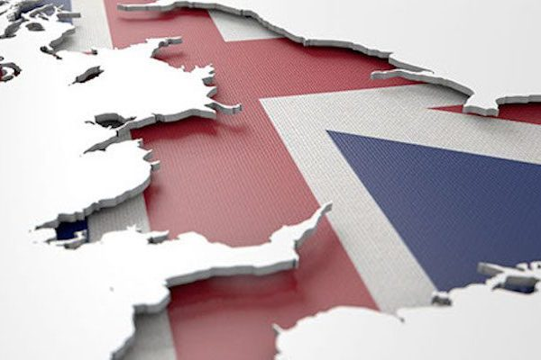 The shape of the country of Great Britain in the colours of its national flag recessed into an isolated white surface